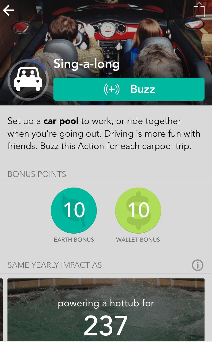 Screenshot of my JouleBug carpooling activity